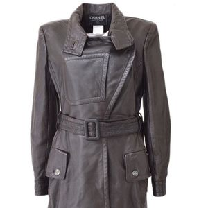 Chanel Brown Leather Belted Stag Skin Coat 38